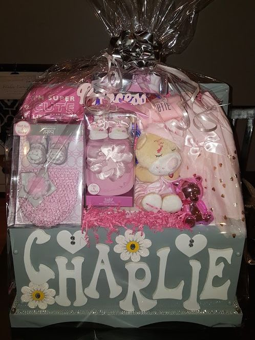 Personalized Baby Shower Gift Basket in Keepsake Wooden Toy Box