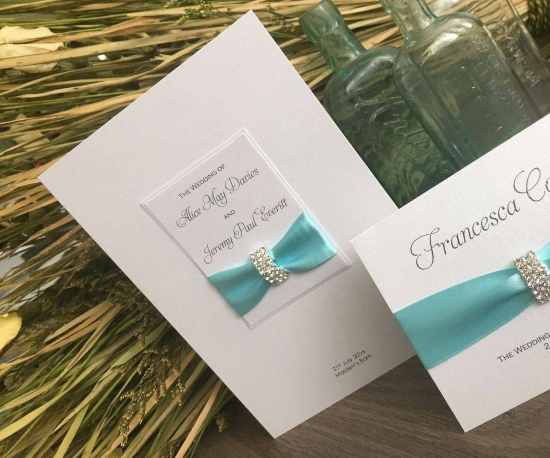 Luxury Order of Service - Turquoise and White