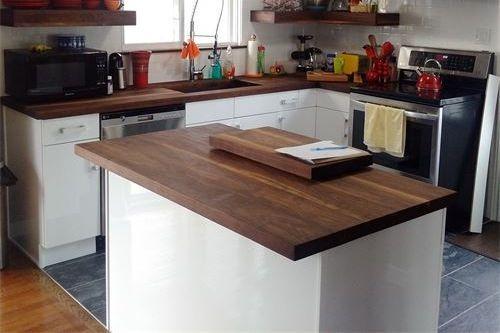 Walnut face grain island counter top, Walnut floating shelves, Walnut cutting board