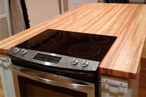 Rustic Maple edge grain top with stove cut-out