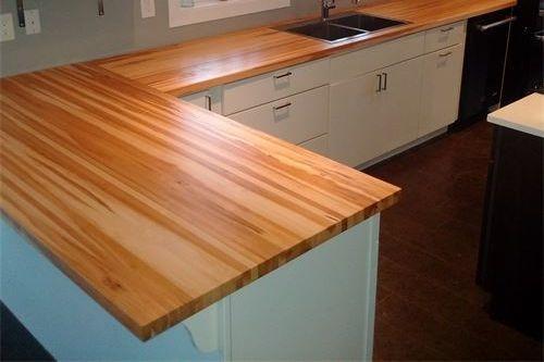 Rustic Maple edge grain L-shaped counter top,  Walnut floating shelves