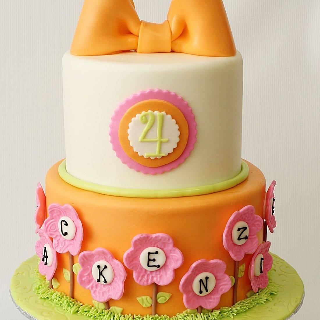 Custom Orange Pink Simple Bow Cake  Milwaukee