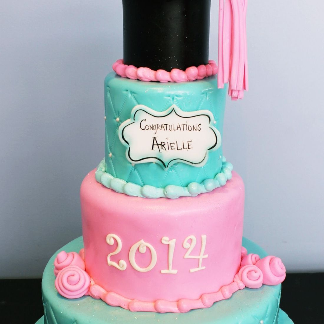 Custom Pink Blue Tufted Graduation Cake  Milwaukee