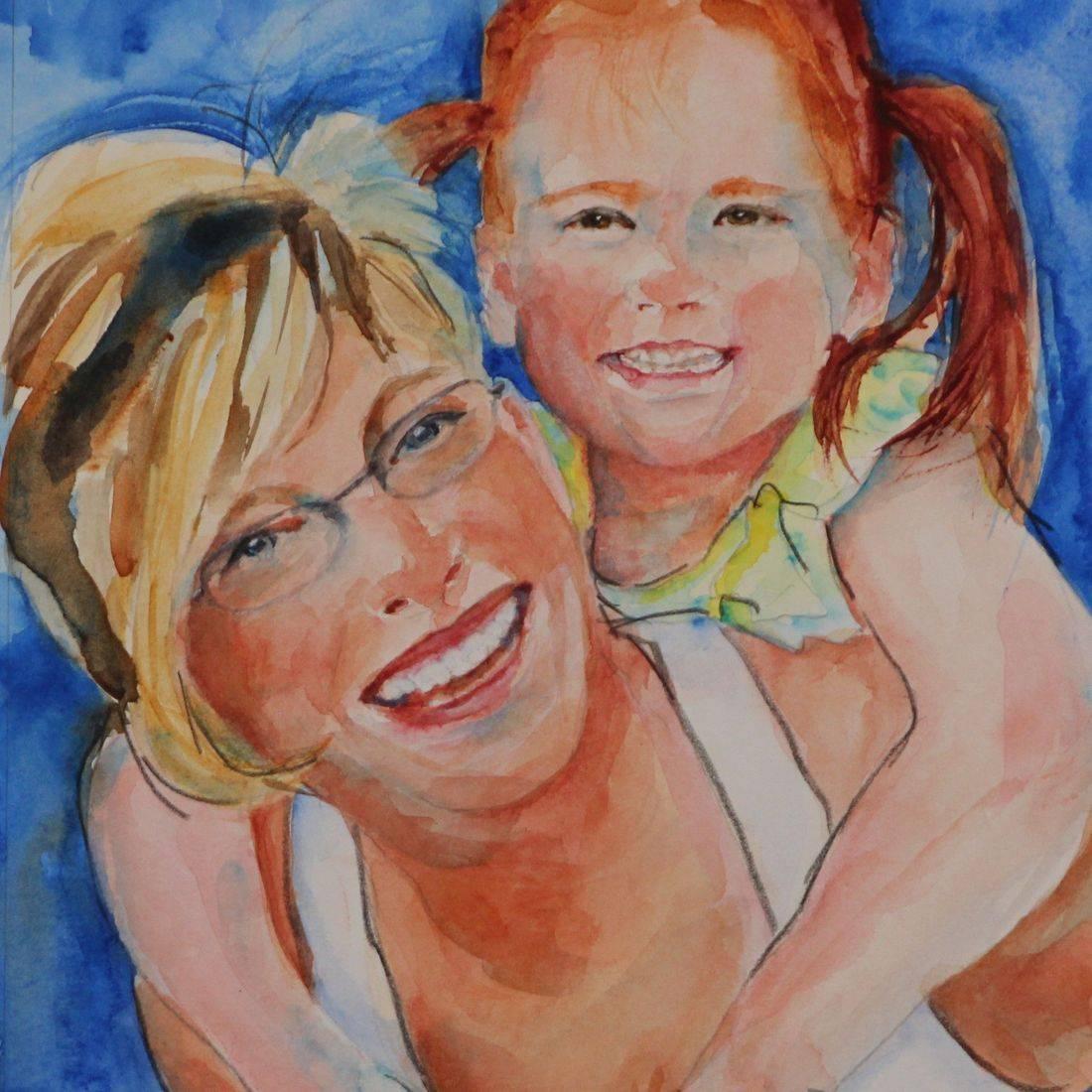 R Putbrese watercolor portrait of baby by Rebecca Krutsinger