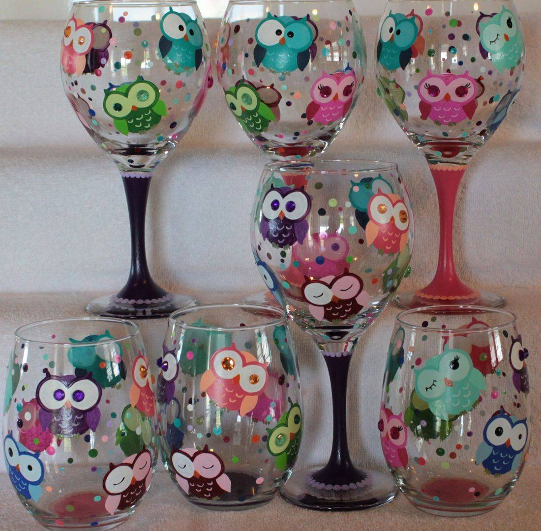 owl wine glass, owl beer glass