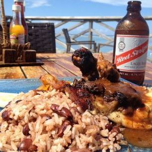 Jerk Chicken, Rice and peas, Red Stripe Beer, Jamaica