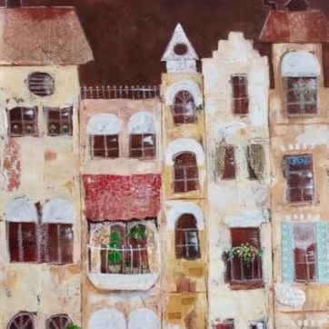 Mixed Media Collage; by Barbara Polc; Acrylic Art; Collage Art; Abstract Buildings