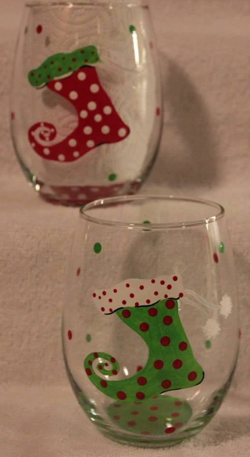 Christmas Wine glass, Stocking wine glass