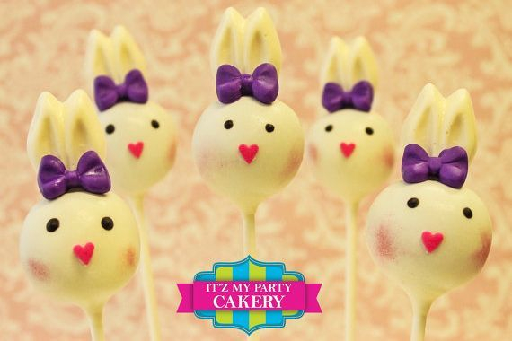 Bunny Head Cake pops Custom cakepopsStars New Year Cake pops