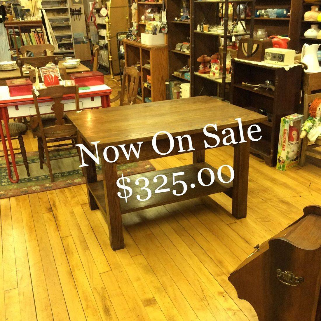 "Vintage Oak Work Table w/Shelf 46""W x 33-3/4""D x 30""H. ( very solid, very heavy )   $385.00"