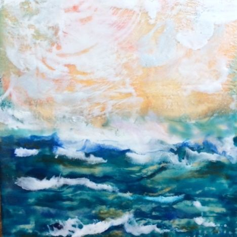 Abstract Seascape, Encaustic painting, by Art And Soul By The Lake