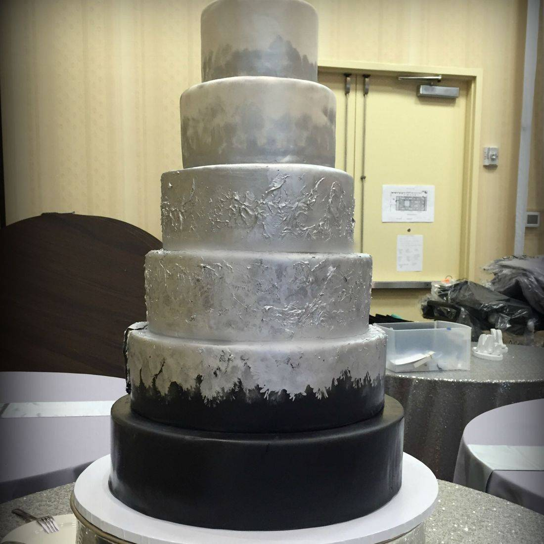 black silver and white pearl wedding cake