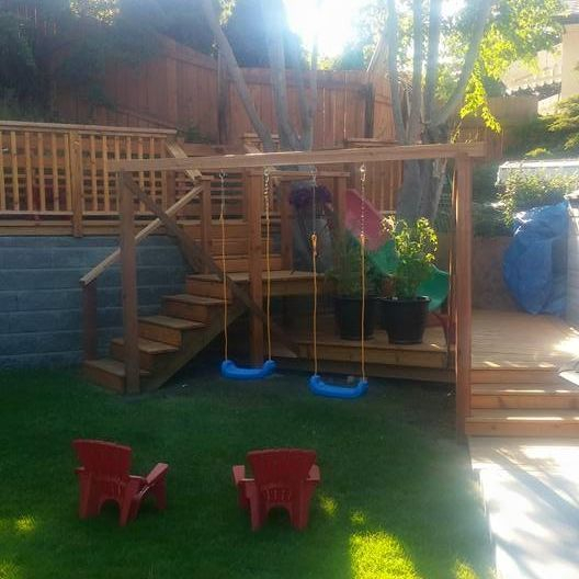 Custom kids swing set and slide