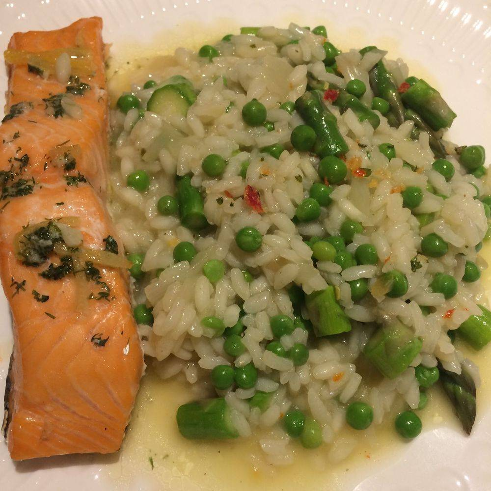 Pea & Asparagus Risotto with Chilli Parsley & Garlic Herb Salt