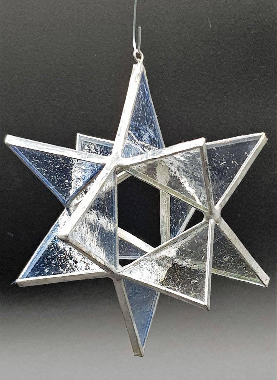 Weihnachten, Klar/blau, Stern, Glas, Kunsthandwerk, Fensterbild, Tiffany, Einzigartig, Unikat, Glück