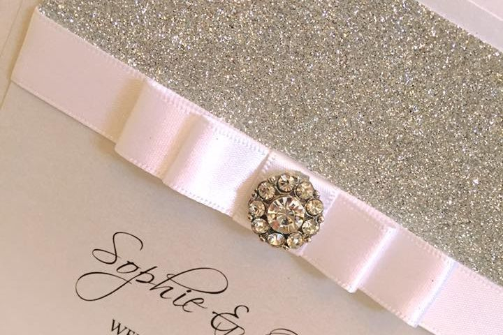 Wedding Invitations, Classic Fold Invitations, Handmade Wedding Invitations, Luxury Wedding Invitations, Glitter wedding invitations