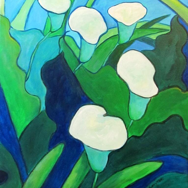 Calla Lilies on Blue