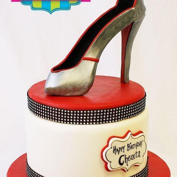 Custom Red bottom Silver High Heel Shoe  Cake Milwaukee