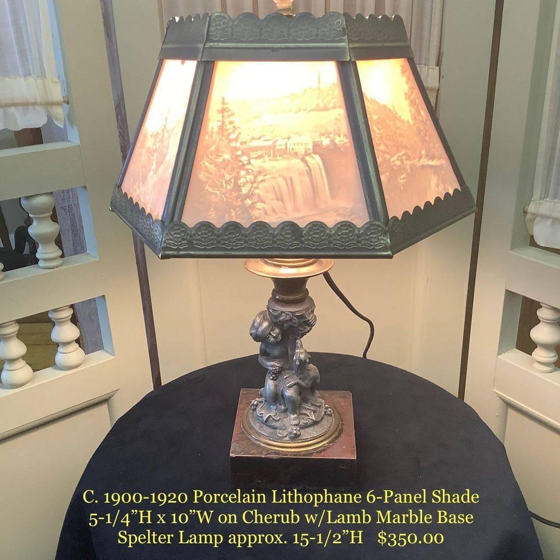 C. 1900-1920 Porcelain Lithophane 6-Panel Shade on Cherub Spelter Lamp   $350.00