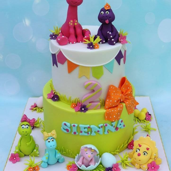 Girl Dinosaur Cake Baby Egg Bow Birthday 2nd