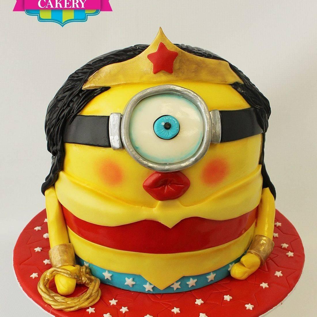 Wonder Woman Minion  Cake Carved Dimensional Cake Milwaukee