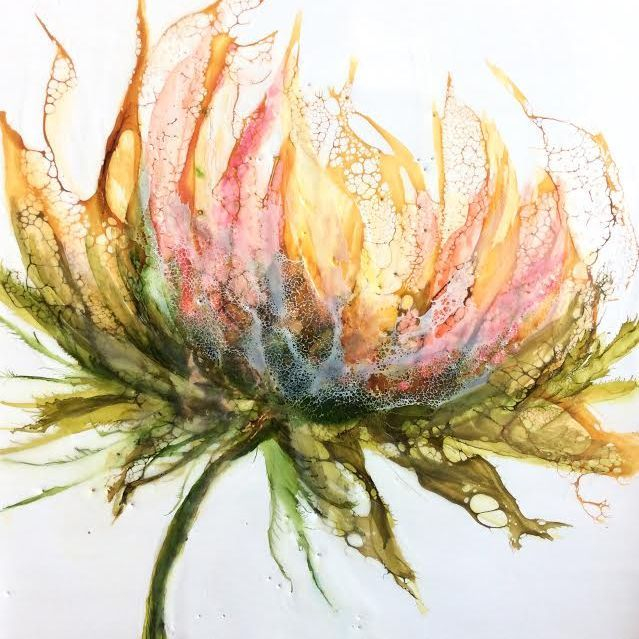 Encaustic Floral, encaustic botanical, encaustic and shellac, encaustic and alcohol ink, abstract floral, peach and greens, home decor, encaustic artist, alcohol ink artist