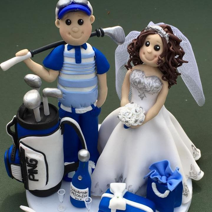Bride Groom Personlised Family Pet Keepsakes Wedding Clay Topper Golf Shopping Proscecco