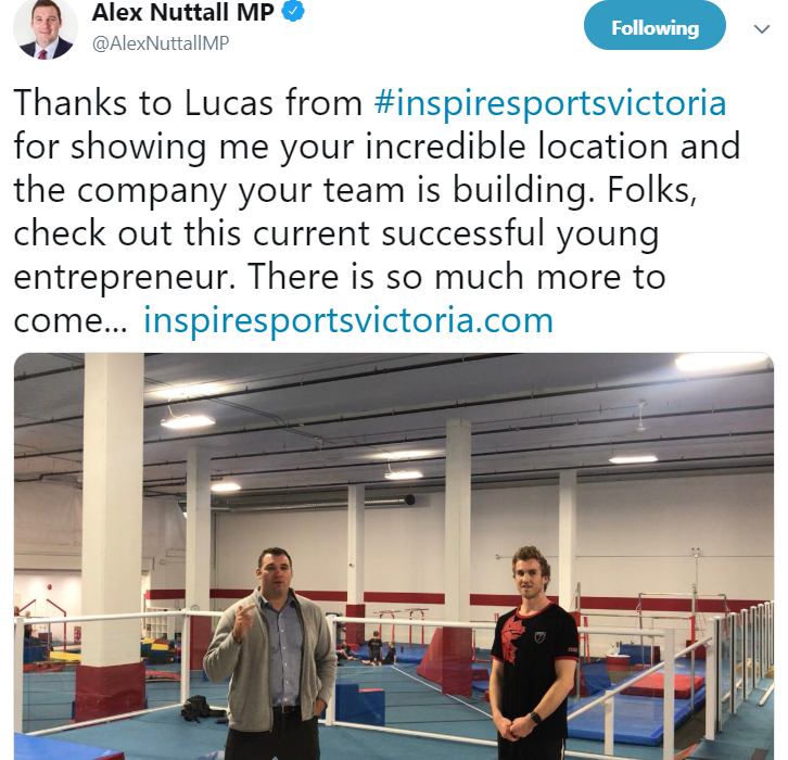 Canada's Shadow Minister of Sport at Inspire Sports Victoria Gymnastics in Victoria and Saanich