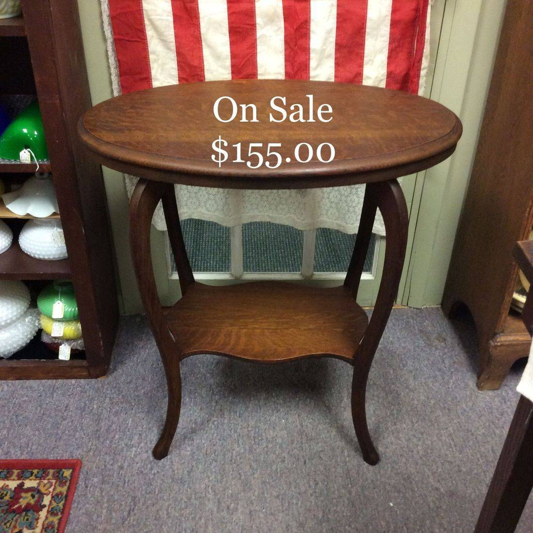 Early 1900's Oval Oak Side Table w/shelve   $155.00