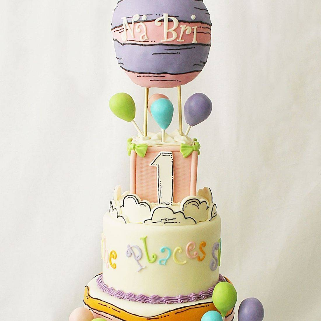 Custom   Oh The Places Dr Suess Cake  Milwaukee