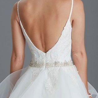 Low back, straps, ballgown,elegantwedding dress