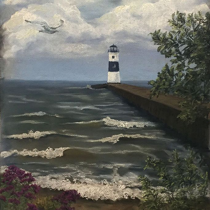 "SBaeckmann - Lighthouse in New Hampshire - 18"" x 24"" Pastels"