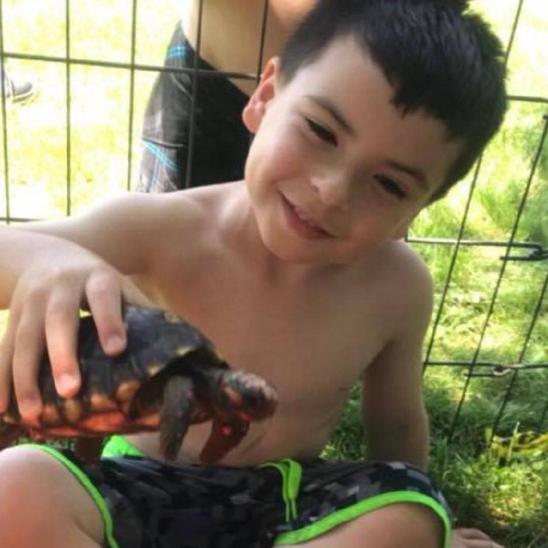 boy holding tortoise