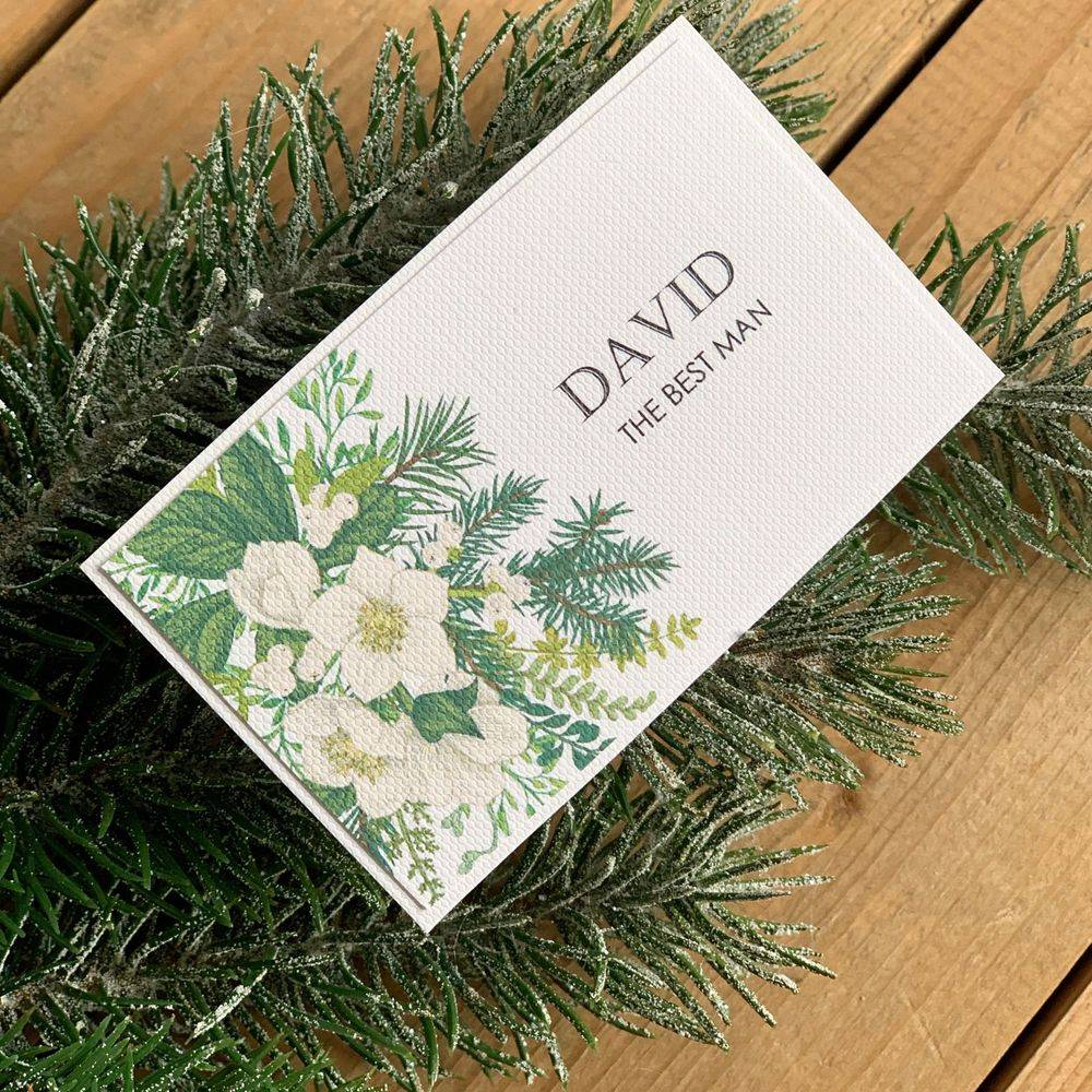 Christmas/Winter Wedding Place name cards with mistletoe, hellebores, fir