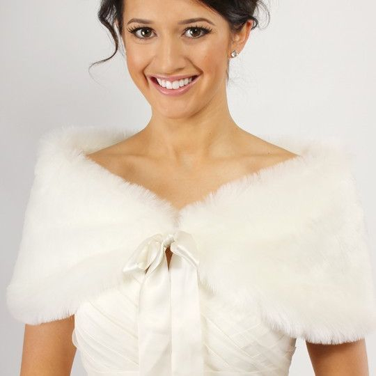 fur shrug,shawl,bridal wrap,ivory,white