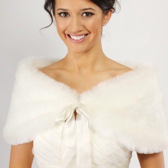 fur shrug,shawl,bridal wrap,ivory,white