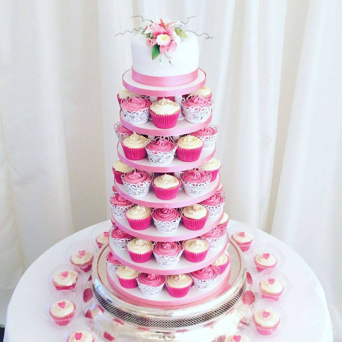 Cupcake Tower pink orchids Buttercream swirls Wedding Cake Fabu-Lous Cakes