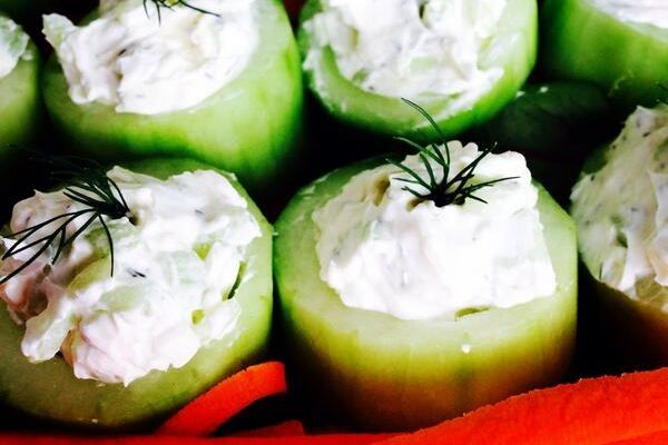 The Tzatziki filled cucumber cup tastes great