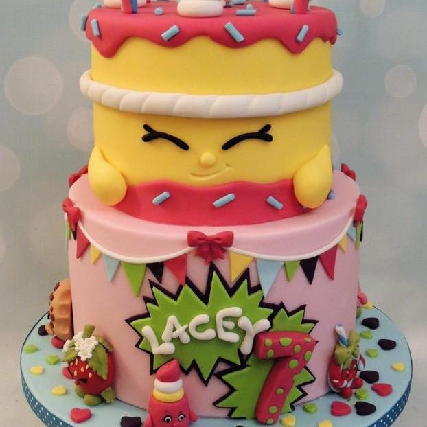 Shopkins Birthday Cake Bunting Lipstick Strawberry Candles