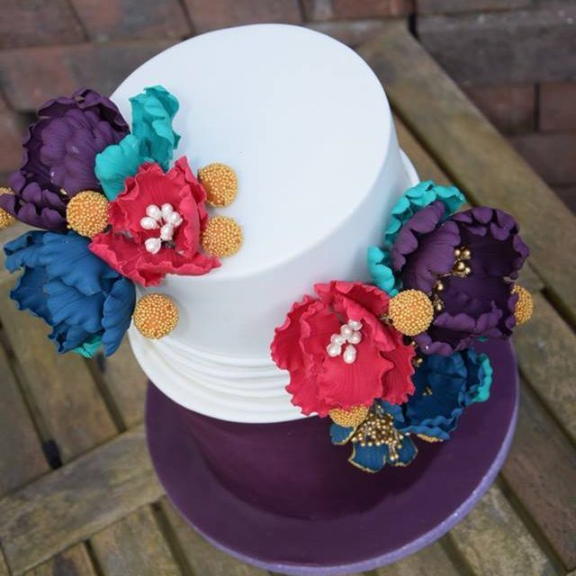 Bright Colour wedding Cake Fantasy Flower Purple Cerise Green Cadbury