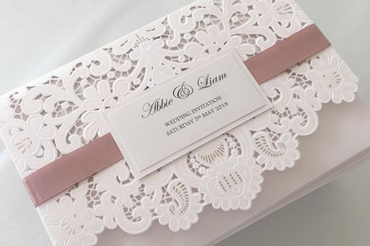 Lace Lasercut Wallet, Wedding Invitations, Luxury Wedding Invitations
