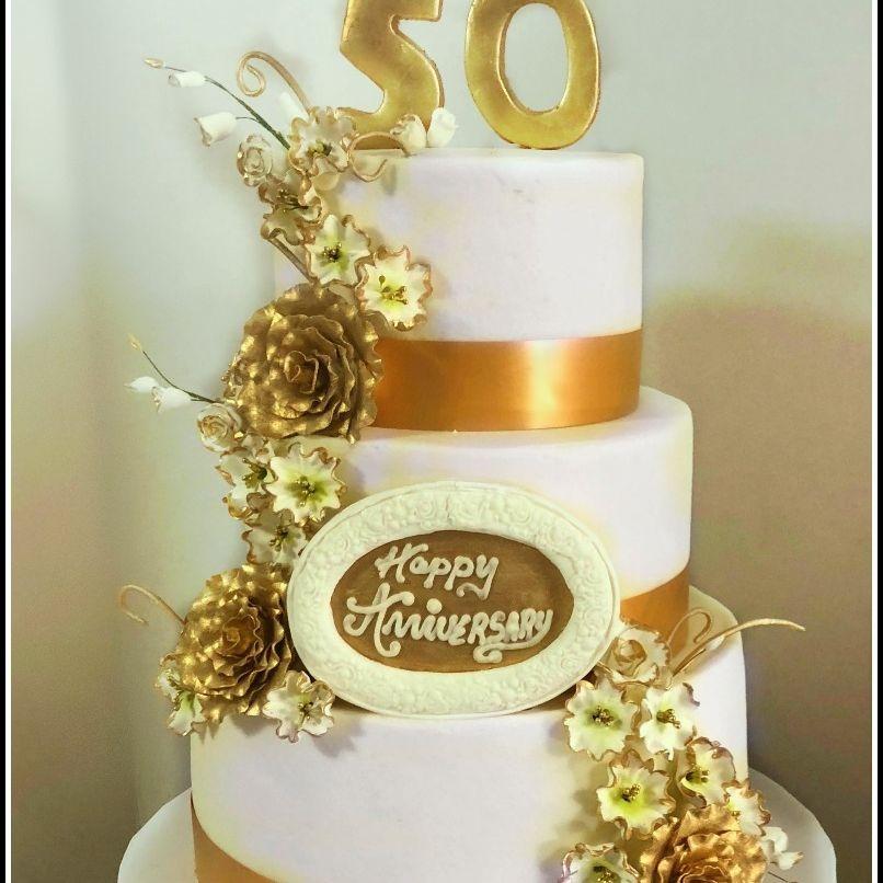 50th Anniversary cake gold anniversary cake
