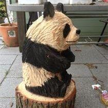 Panda  Chainsaw Carving, Mike Burgess, Cheshire UK