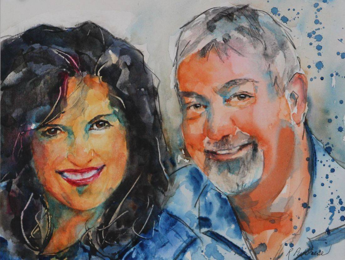 watercolor portrait painting of couple by Rebecca/Becky Krutsinger