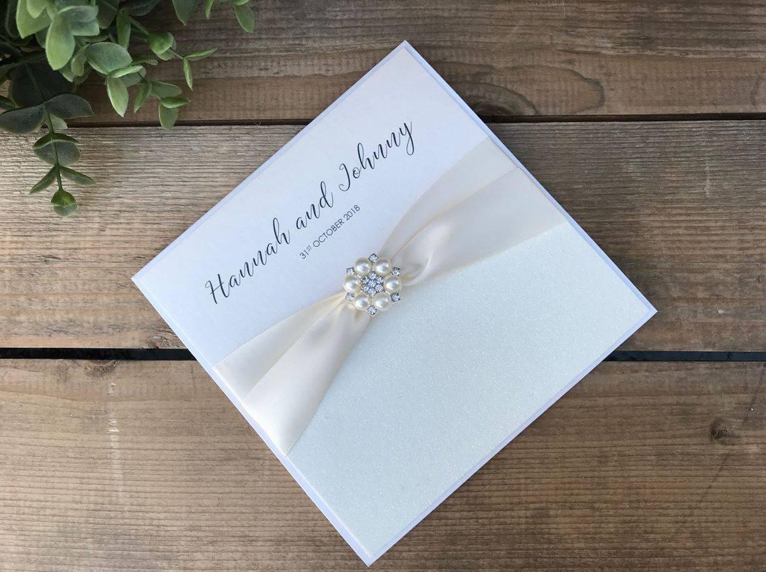 Ivory Glitter Wedding Invitations