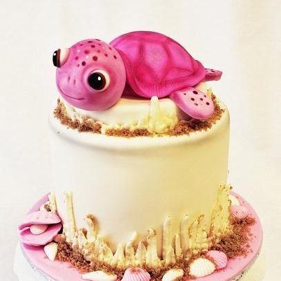 Custom Pink Sea Turtle Cake Milwaukee