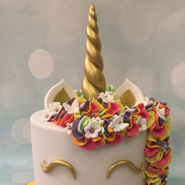 Unicorn Cake Birthday Celebration Rainbow Butterflies