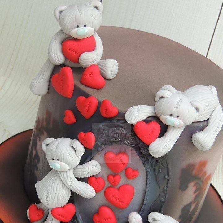 Teddy Bear Love Hearts Vintage Black Birthday Cake
