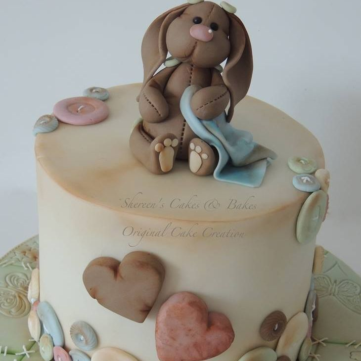 Vintage Patchwork Heart Bunny Baby Shower Cake Christening Novelty Celebration
