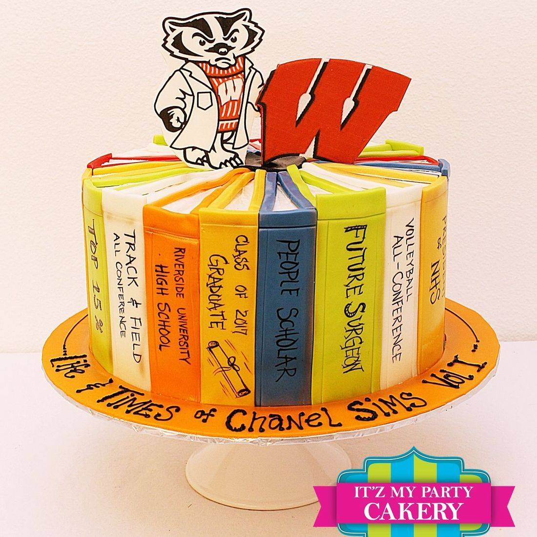 Custom Graduation Bucky Badger Wisconsin Cakes Milwaukee
